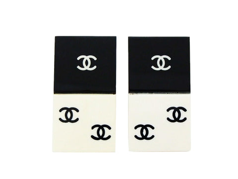 Chanel earrings black white CC domino quad Authentic