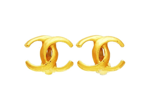 Chanel earrings double C gold CC logo Authentic