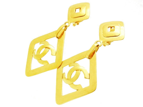 Chanel dangle earrings CC logo gold rhombus Authentic