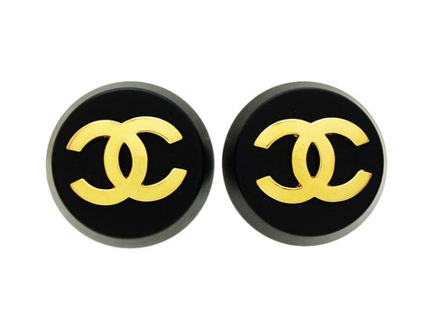 Chanel round earrings CC logo black plastic Authentic