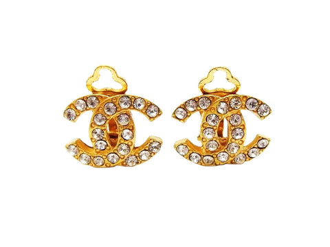 Chanel earrings CC logo rhinestone small Authentic