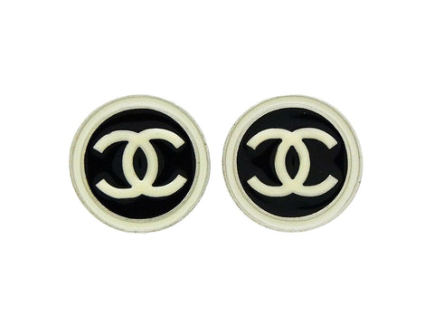 Chanel earrings CC logo round black white Authentic