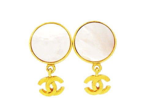 Chanel dangle earrings CC logo white stone Authentic
