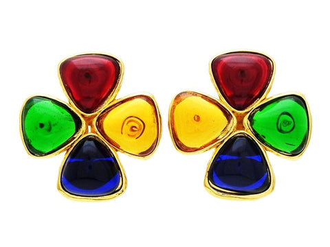 Chanel earrings red green glass stone clover Authentic
