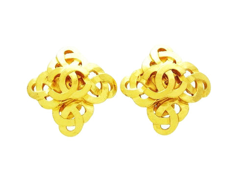 Chanel earrings CC logo gold rhombus Authentic Vintage Chanel