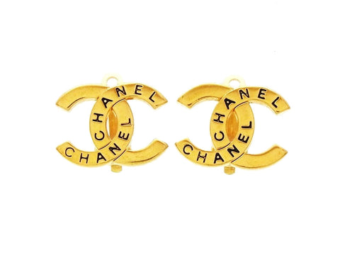 Chanel CC logo earrings double C Authentic Vintage Chanel jewelry