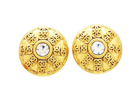 Chanel round earrings CC logo rhinestone Authentic
