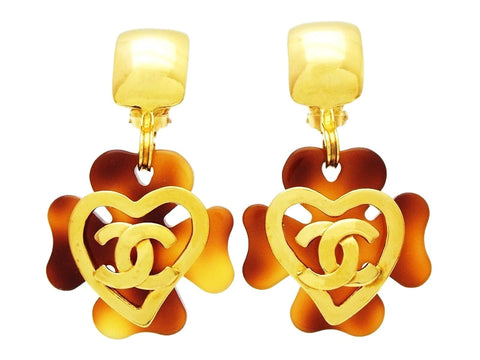 Chanel dangle earrings CC logo heart clover Authentic Vintage Chanel