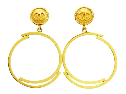 Chanel dangle earrings CC logo hoop Authentic