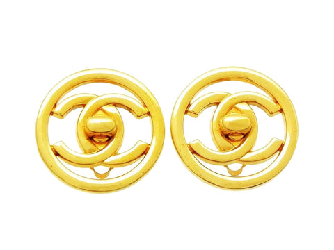 Chanel round earrings turnlock CC logo Authentic real