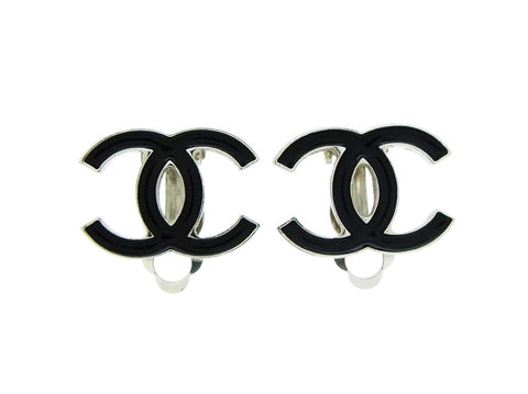 Chanel earring black silver CC logo double C Authentic