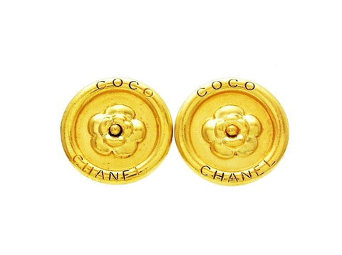 Chanel round earrings camellia logo Authentic