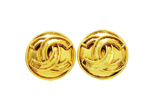 Chanel round earrings gold CC logo Authentic