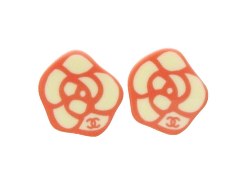 Chanel camellia earrings CC logo white pink Authentic