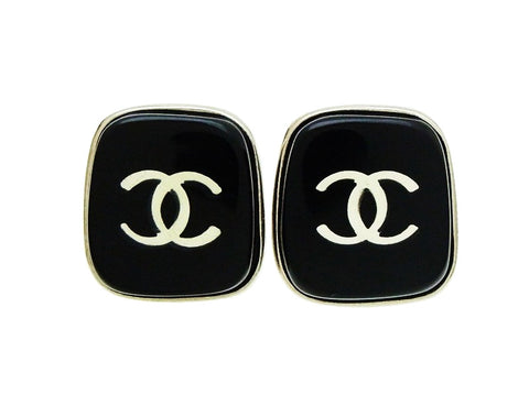 Chanel earrings CC logo mirror black plastic Authentic