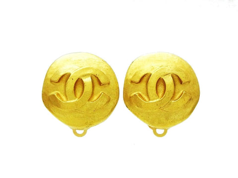 Chanel earrings CC logo gold round Authentic