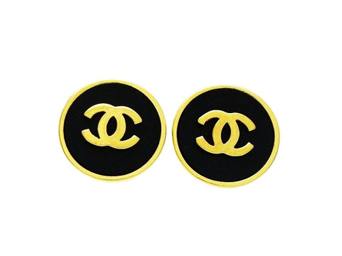 Chanel round earrings CC logo black small Authentic Vintage Chanel