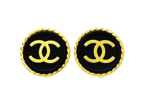 Chanel round earrings CC logo black button Authentic Vintage Chanel