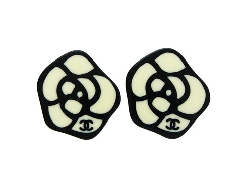 Chanel camellia earrings CC logo black Authentic