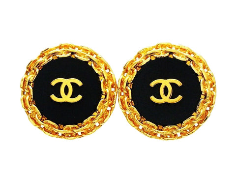 Chanel earrings CC logo black round Authentic Vintage Chanel large