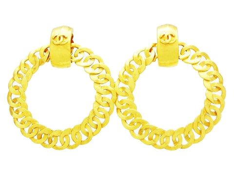 Chanel dangling earring CC logo huge hoop Authentic
