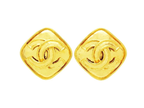 Vintage Chanel rhombus earring CC logo double C jewelry Authentic