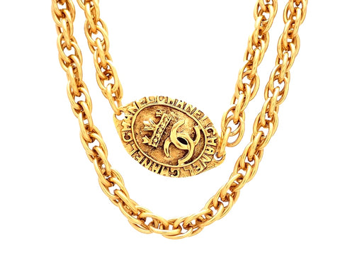 Authentic vintage Chanel necklace oval medal CC logo