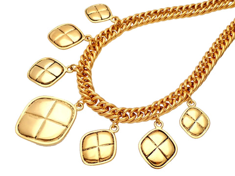 Authentic vintage Chanel necklace quilted rhombus charms