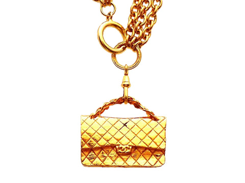 Authentic vintage Chanel necklace Plural Chains Quilted Flap Bag