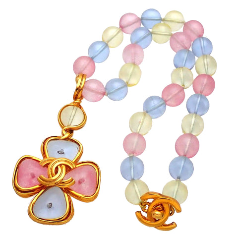Authentic vintage Chanel necklace Colorful Stones CC logo Clover