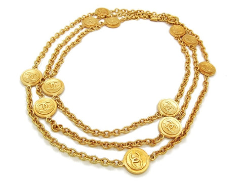 Authentic vintage Chanel necklace choker chain gold CC medals super long