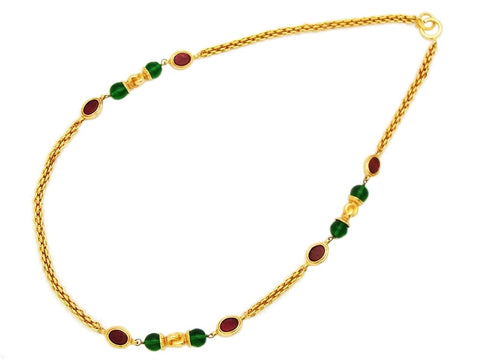 Authentic vintage Chanel necklace chain red green glass stones jewelry