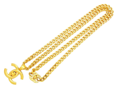 Authentic vintage Chanel necklace turnlock CC logo pendant gold chain