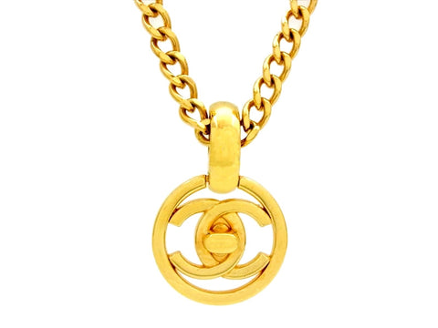 Vintage Chanel necklace turnlock CC logo round pendant