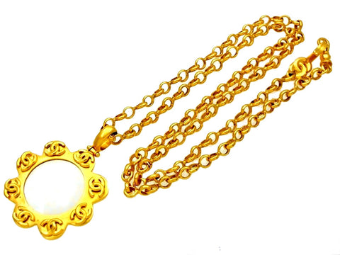Vintage Chanel loupe necklace CC logo pendant