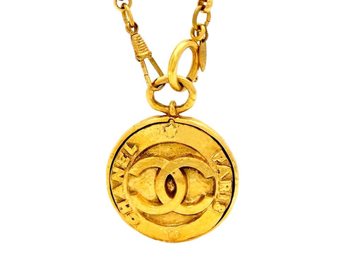 Vintage Chanel necklace CC logo mirror pendant