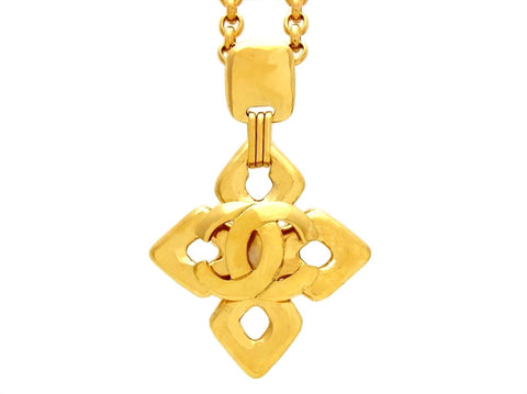 Vintage Chanel necklace CC logo cross pendant