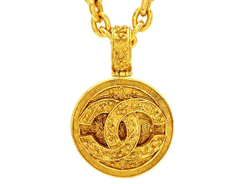 Vintage Chanel necklace baroque CC logo pendant