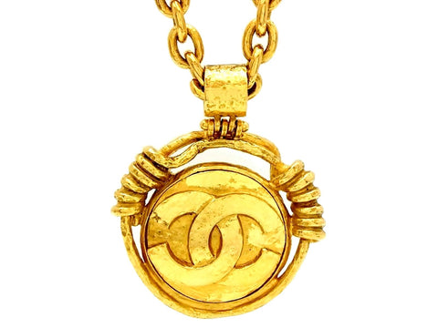 Vintage Chanel mirror necklace CC logo pendant