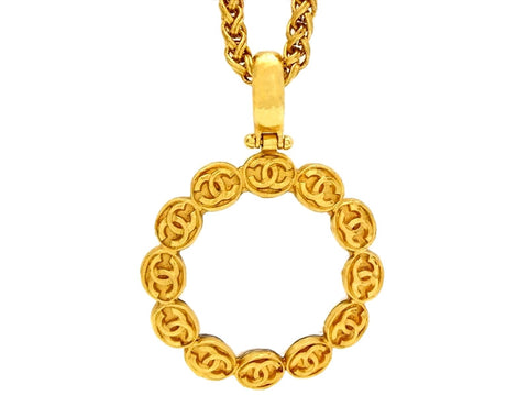 Vintage Chanel loupe necklace CC logo
