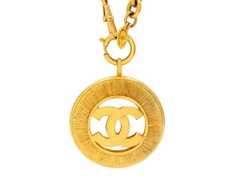 Vintage Chanel necklace big CC logo round pendant