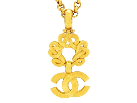 Vintage Chanel necklace CC logo dangling pendant