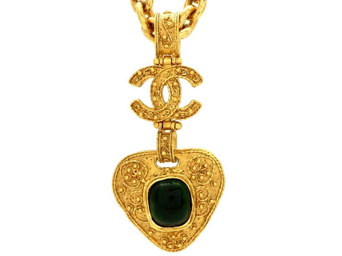 Vintage Chanel necklace CC logo green stone pendant