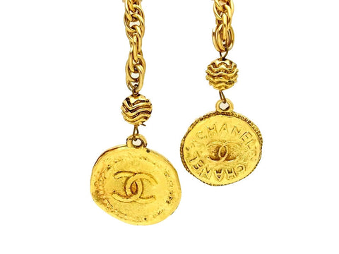Vintage Chanel necklace CC logo medals lariat
