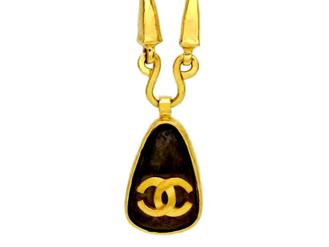 Vintage Chanel necklace CC logo brown drop