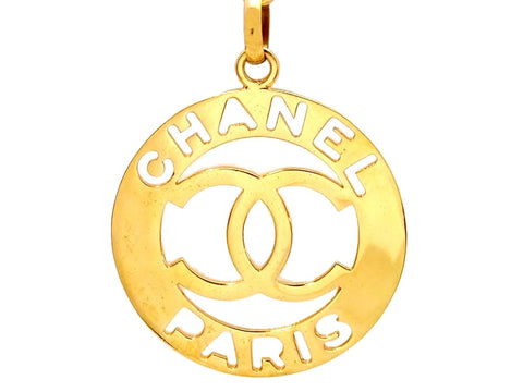 Vintage Chanel necklace CC logo huge pendant