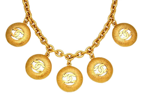 Vintage Chanel necklace five CC logo round
