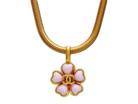 Vintage Chanel necklace CC logo cherry blossom pink