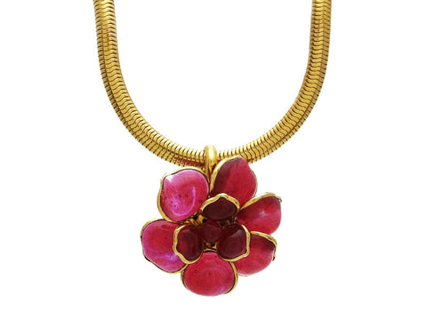 Vintage Chanel necklace Camellia pink gripoix glass