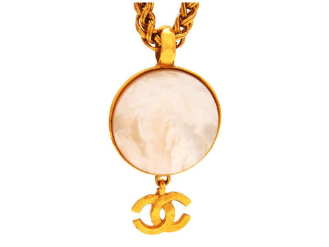 Vintage Chanel necklace CC logo white stone